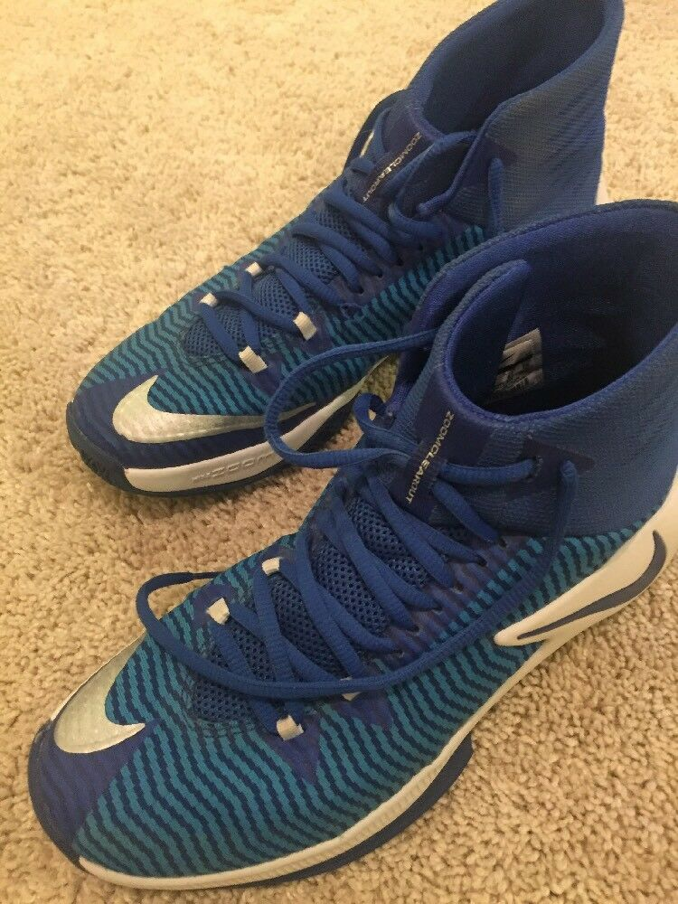 NIKE ZOOM CLEAROUT BASKETBALL SHOES BLUE/WHT/SIL [844372 444] MEN'S size 8