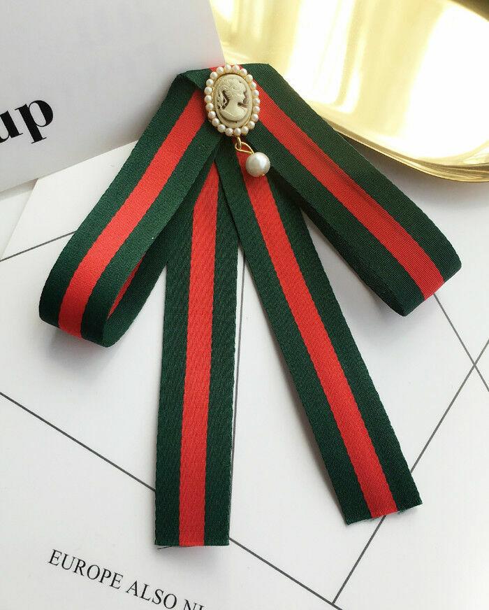 Cameo Pendant Bow Pre-tied Red Neck Tie Bowtie Women Accessory
