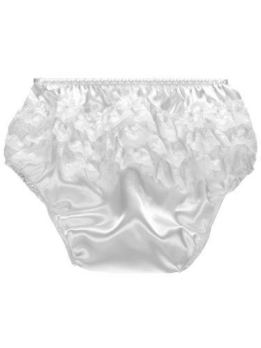 BABY TODDLER GIRLS SATIN FRILLY LACE KNICKERS PANTS IN WHITE  AND PINK