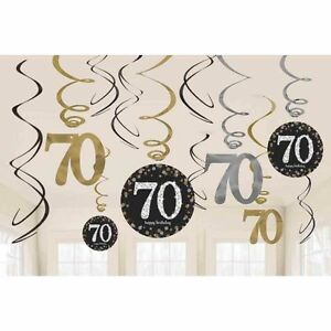 12-x-70th-Birthday-Hanging-Swirls-Black-Silver-Gold-Party-Decorations-Age-70