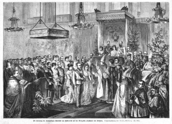 2019 Neuestes Design Kronprinz Rudolf, Prinzessin Stephanie, Hochzeit, Origin-holzstich 1880, Sisi