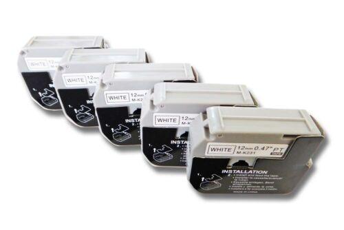 5x Label Tape 12mm SCHWARZ-weiss für BROTHER P-Touch PT-90