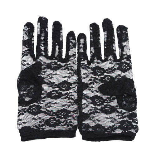 Pair of Lace Short Gloves Full Finger Outdoor Driving Gloves Party Gloves Y
