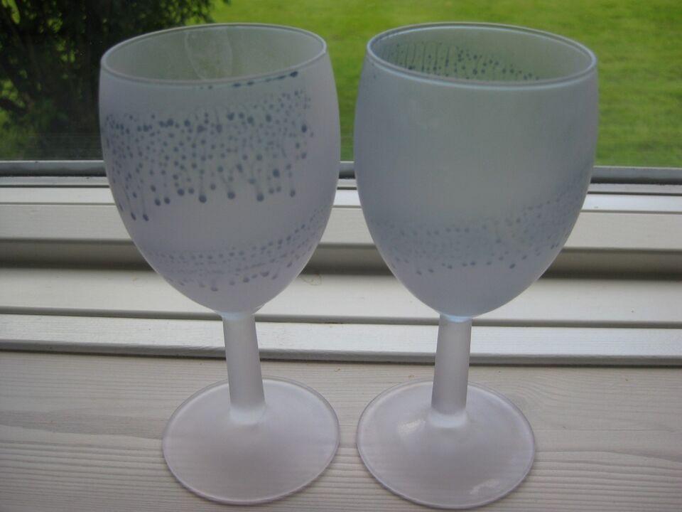 Glas, 6 hvidvinsglas, frostet