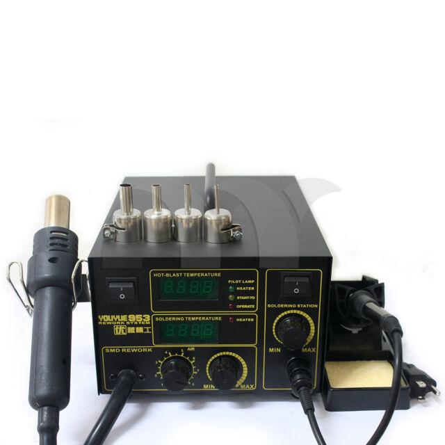 2in1 Soldering Iron Rework Station Hot Air Gun Desoldering Welder 953 750W