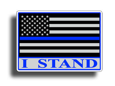I Stand USA Flag Sticker Blue Line Military LEO America Car Window Bumper Decal