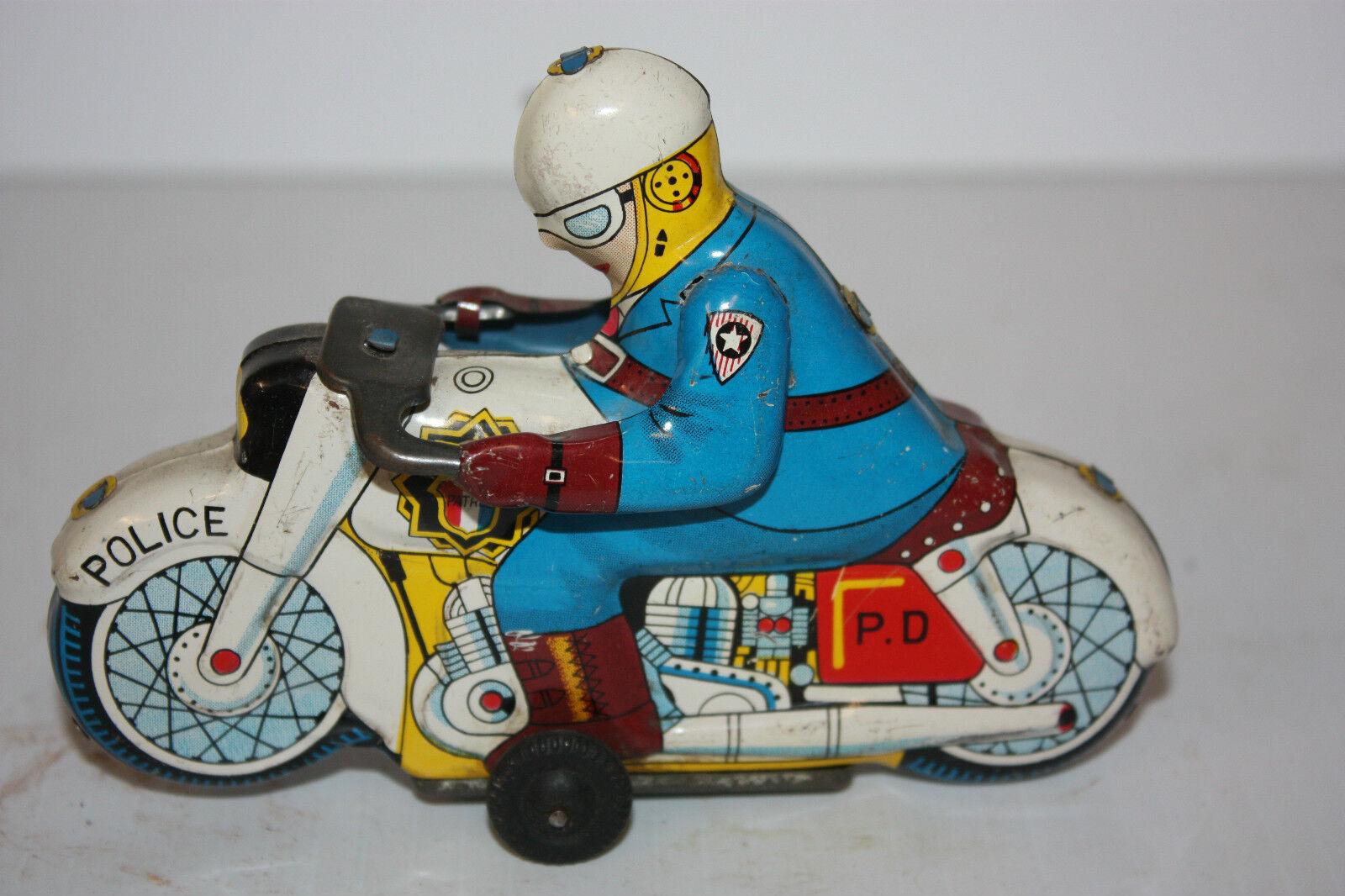 Tin Motorcycle leksak Police tillverkad i japan på 1950 -talet