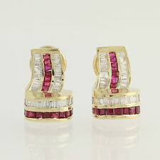 Ruby & Diamond Earrings - 14k Yellow Gold July Omega Closures Pierced 3.10ctw