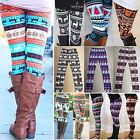 Womens Winter Warm Xmas Snowflake&Reindeer Nordic Stretch Knitted Leggings Pants