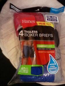4-PR-MENS-HANES-TAGLESS-COMFORTSOFT-COTTON-KNIT-BOXER-BRIEFS-SZ-2XL-COLORS