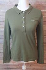 Women's Lacoste Green 1/2 Button Long Sleeve Sweaters Size Medium