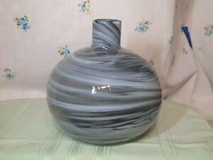 Art Glass Studio Murano Style Hand Blown Vase Smokey Grey 7.5 x 7.5 inches Swirl