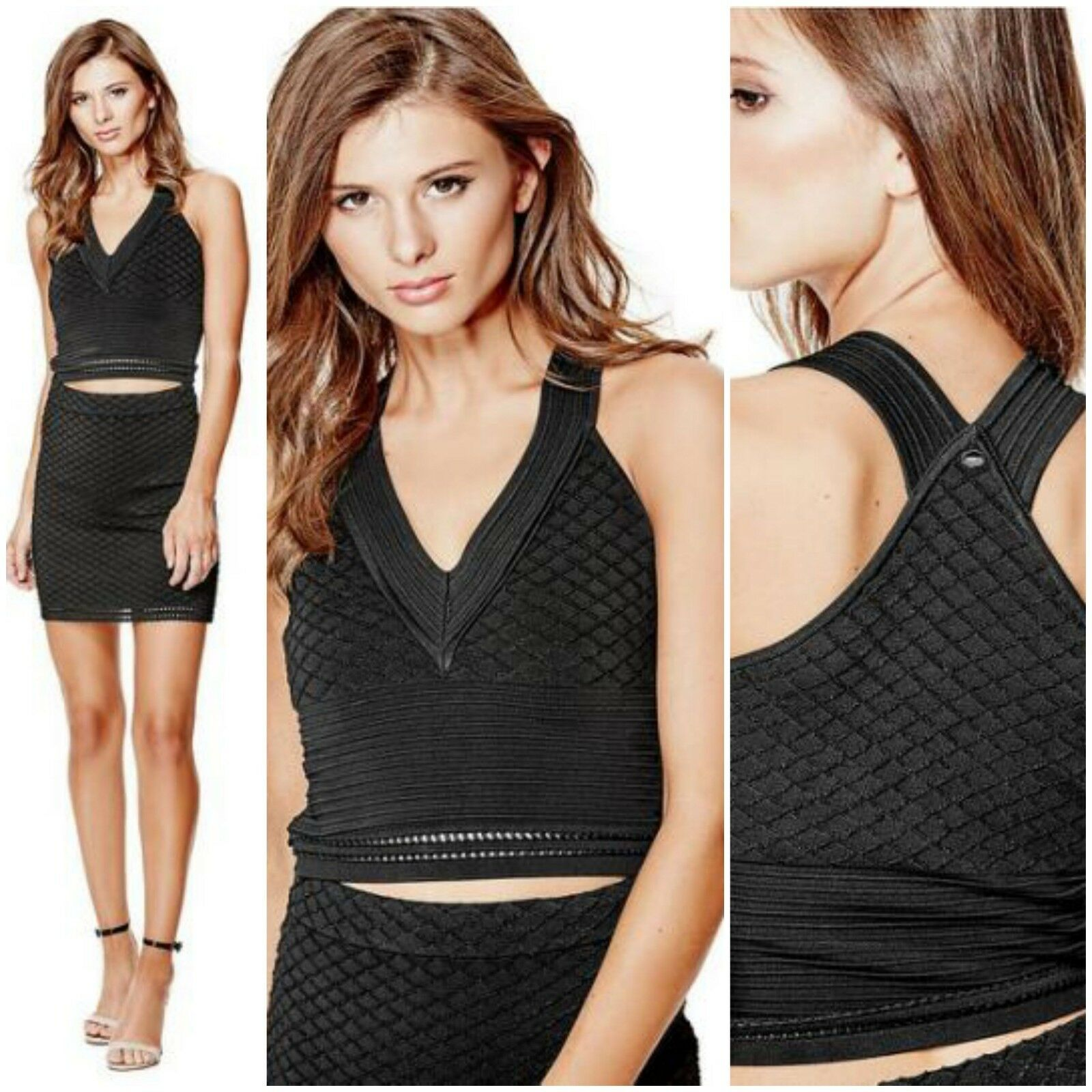 NWT GUESS TEXTUrot BANDAGE CROP TOP Größe S
