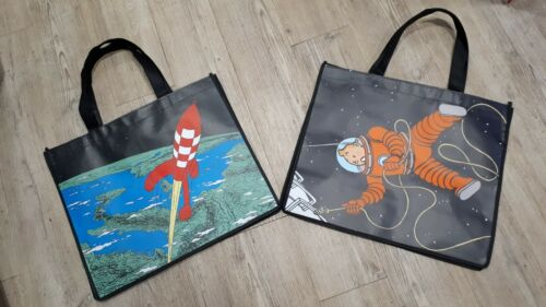 Fusée et Tintin /& Haddock cosmonautes  45x38cm Lot 2 Sacs Moulinsart