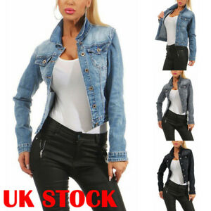 Women-039-s-Slim-Fit-Jean-Jacket-Distressed-Denim-Coat-Bomber-Stand-Collar-Outfit-UK