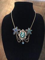 Betsey Johnson Sea Excursion Mermaid Cameo Starfish Statement Necklacerare