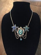 BETSEY JOHNSON SEA EXCURSION  MERMAID CAMEO STARFISH STATEMENT NECKLACE~RARE