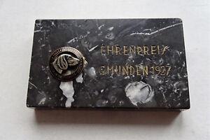PüNktlich Vintage Gmunden Salzkammergut 1927 Hundeverein Email Ehrenpreis Marmor Dog Abzeichen & Nadeln Bis 1945