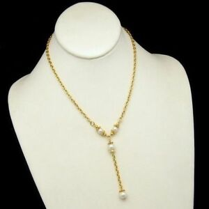 NAPIER-Vintage-Pendant-Necklace-Faux-Pearls-Dangle-Gold-Plated-Chain-Very-Pretty