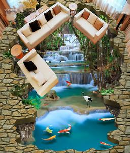 3D Waterfall Forest 7702 Floor WallPaper Murals Wall Print Decal 5D AU Lemon