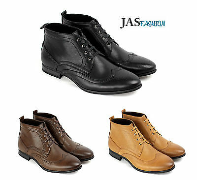 Mens Casual Ankle Boots Fashion Chelsea Formal Shoes Smart Brogue Dress Design