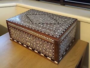 Large Rosewood Fine Indian Inlaid Jewellery Box Jewelry Box 15x10