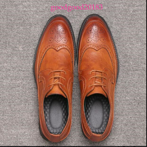 Fashion Mens Leather shoes Business Wing Tip Dress shoes Lace Up Oxford UK Hot S
