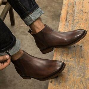1a3c4e47ce0 Details about Handmade Men brown Chelsea boots, Men ankle boots Men Casual  ankle chelsea boots