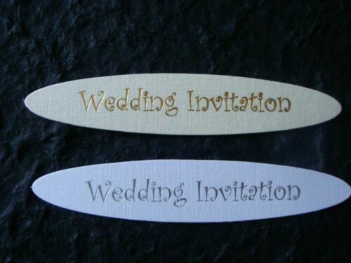 8 DIE CUT White//Silver or Cream//Gold Wedding Invitation Toppers