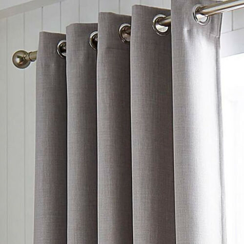 Various Sizes and Colours Hugo Woven Blackout Ring Top Curtains Range Pair
