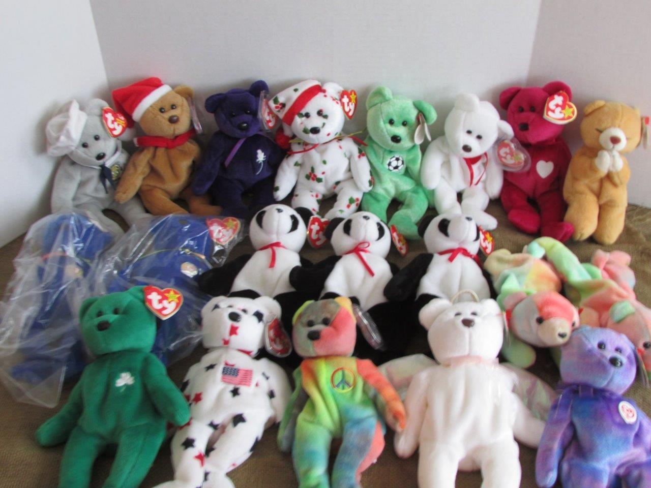 20 Ty Beanie Baby Bears Peace Holiday Teddy Valentino Glory Halo Princess + More