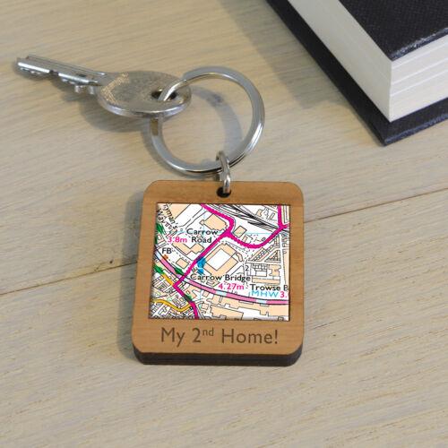Engraved Personalised Gift Stadium Keyring Football Ground Wooden Key Ring