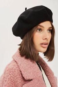 ab5eb7ae821 Black Beret Hat Plain Wool Autumn Women Girls Fashion French Beanie ...