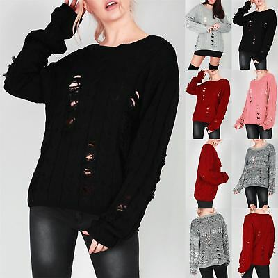 Womens Cold Shoulder Ripped Ladies Jumper Ladder Distressed Knitted Jumper Dress