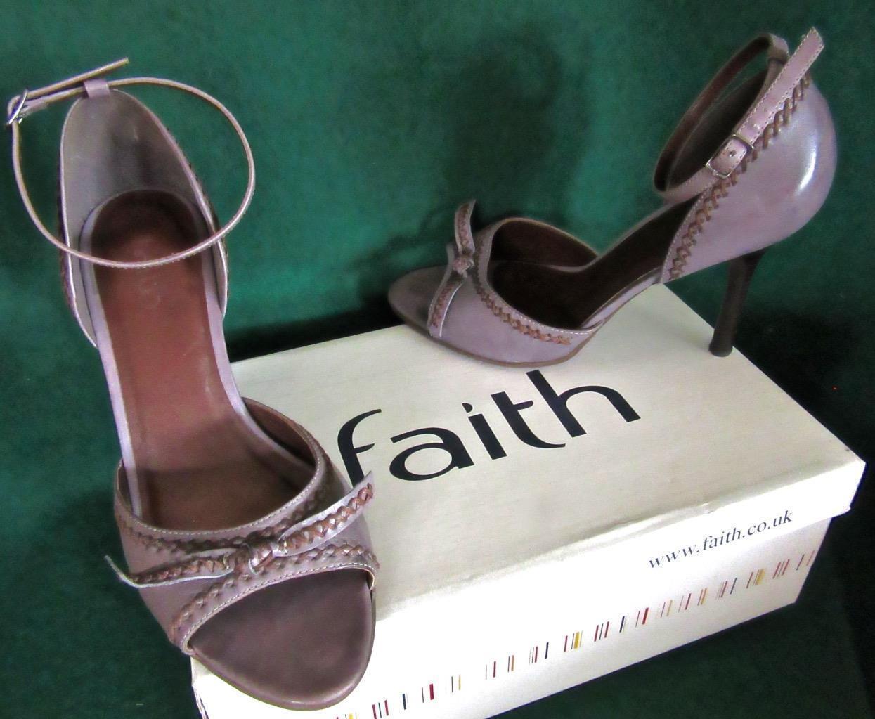 FAITH Uk 6  39 Heather Grey Mauve DACCA Stitched Peeptoe Comfortable Heels shoes