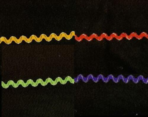Yellow//Silver 6mm Ric Rac Trimming Red//Silver Green//Silver Purple//Silver