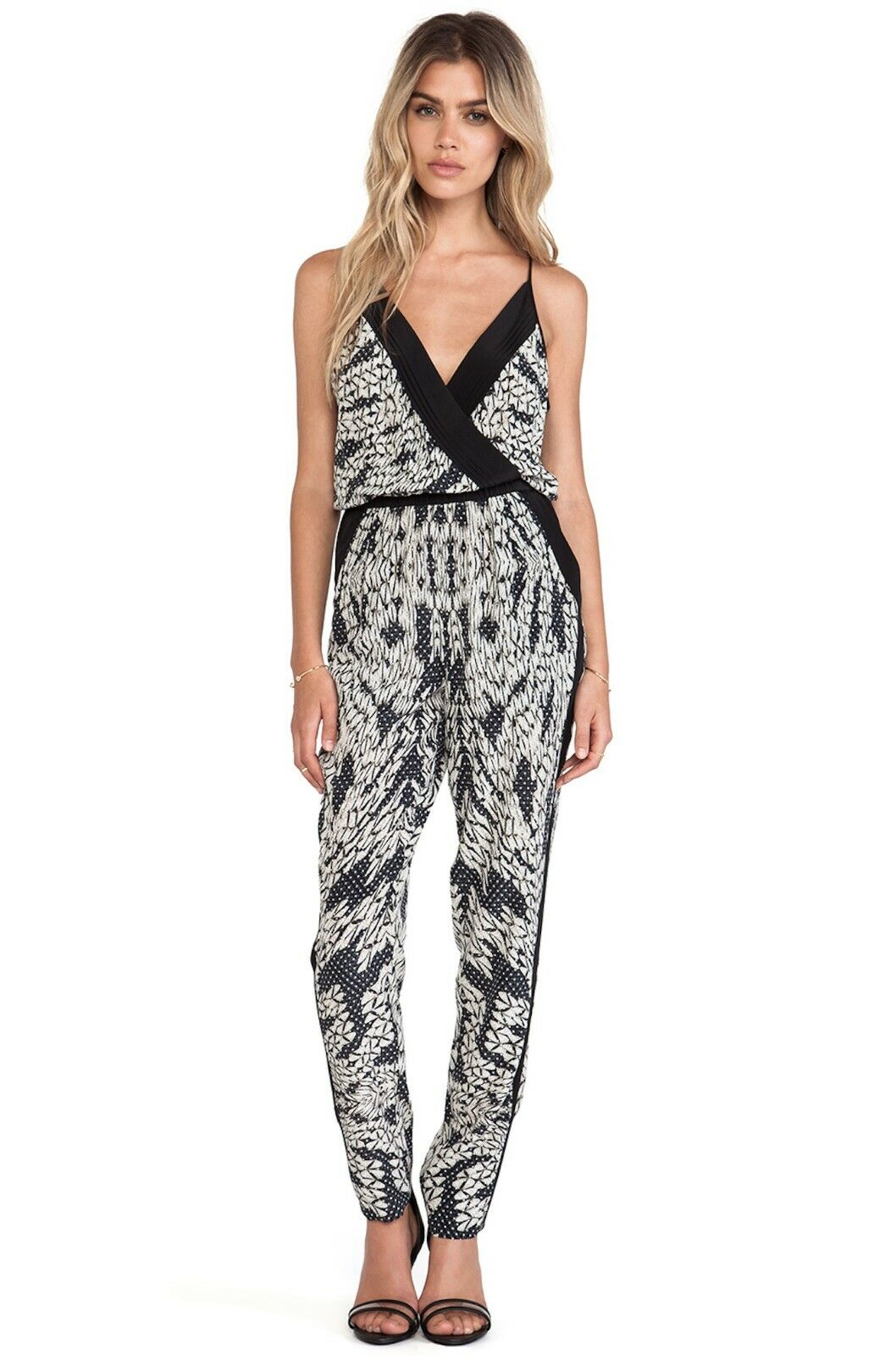 DVF Diane von Furstenberg Shany Panther Lace-Print Jumpsuit Sz 10  445 NWT