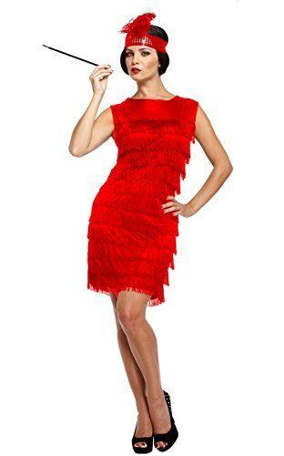 Fancy Dress 1920 1920S TWENTIES RED FLAPPER LADY  Fits 10-14
