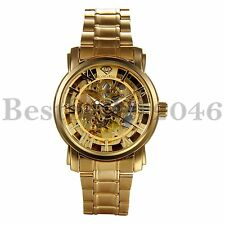 Mens Hollow Skeleton Mechanical Gold Stainless Steel Automatic Sport Wrist Watch