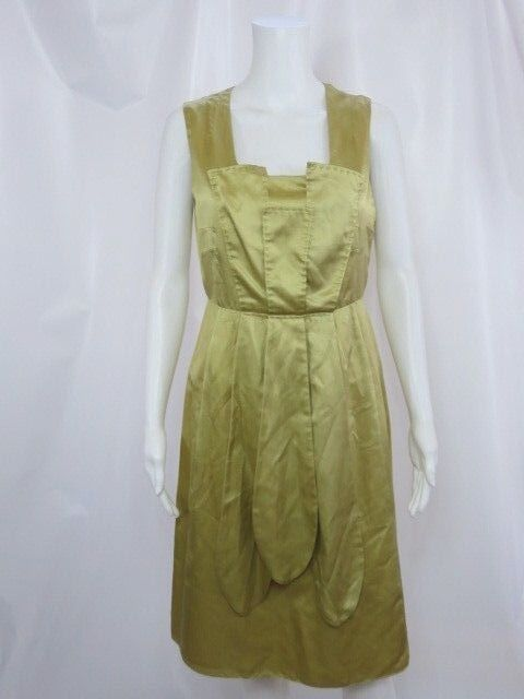 DERERCUNY Made In  gold Silk Sleeveless Dress Sz 44