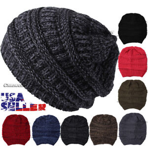 Image is loading Knit-Slouchy-Oversized-Thick-Beanie-Beret-Hat-Winter- 947a89726ae7