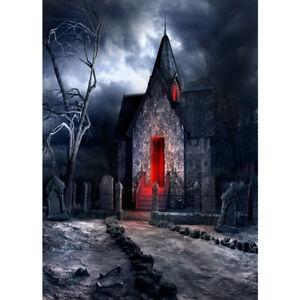Halloween Vinyl Studio Backdrop Background Haunted House Forest Cemetery Scenic