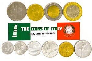 ITALY-FULL-SET-OF-10-COINS-REPUBBLICA-ITALIANA-1946-2001-ITALIAN-CURRENCY-LOT