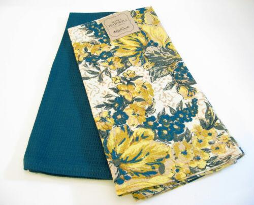 NEW Set//2 April Cornell Cotton Kitchen Tea Towels Floral Dark Teal Gold Ivory