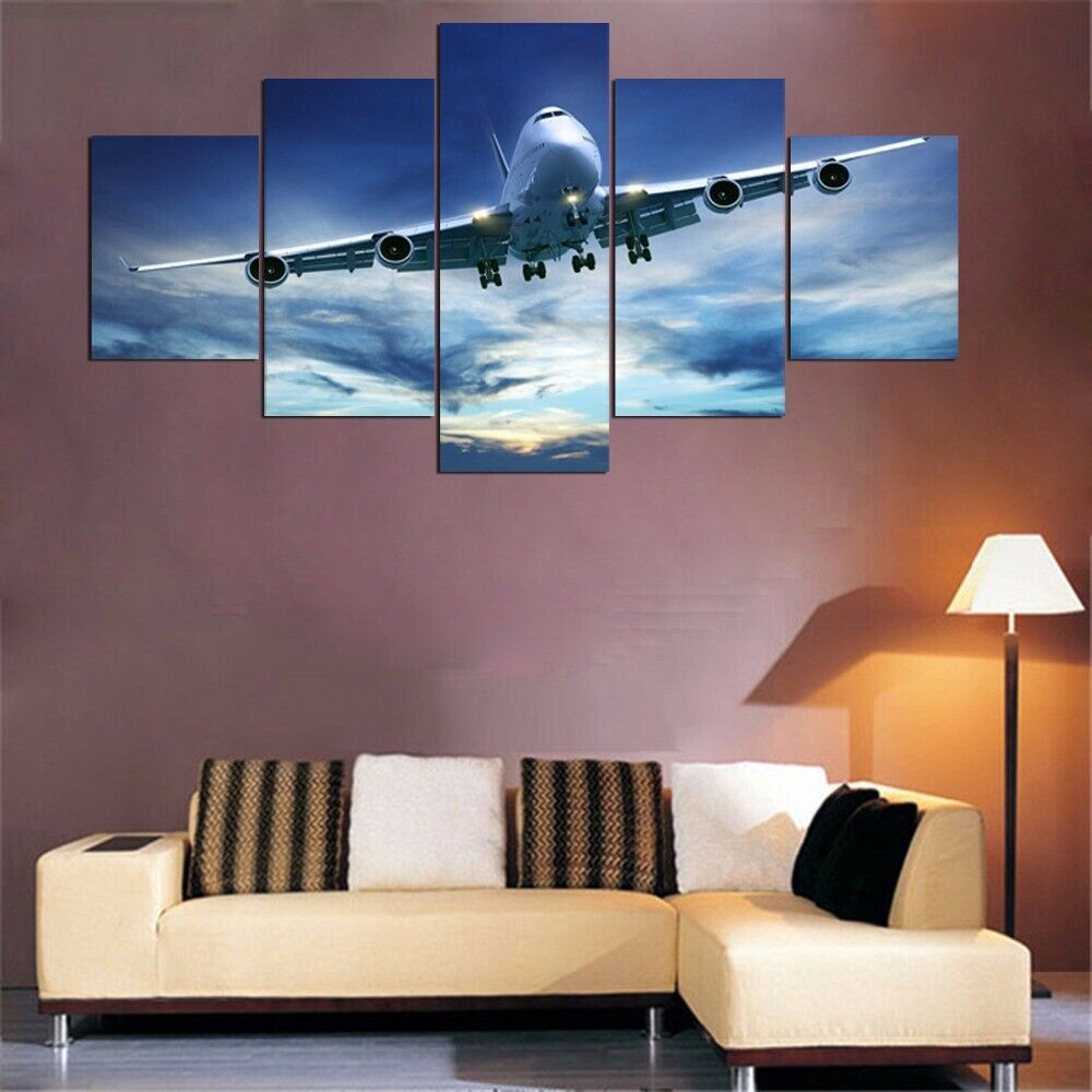 Airplane in the Sky 5 Pieces Canvas Wand Kunst Poster Drucken Home Decor