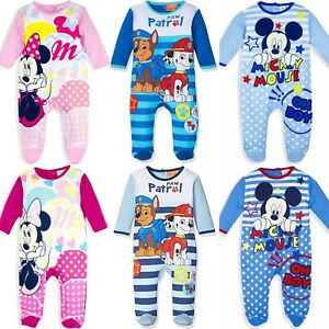 Baby-Boys-Girls-Mickey-Minnie-Paw-Patrol-Sleepsuit-Romper-Babygrow-Pyjamas-3-24m
