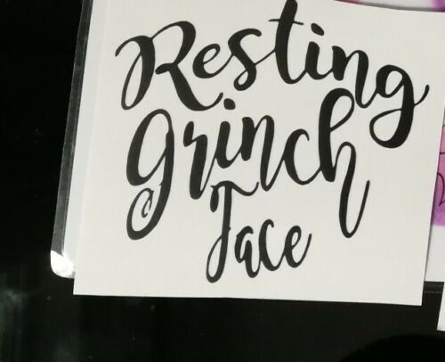 Resting grinch face christmas vinyl decal For glasses crafts walls etc