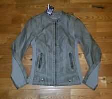 NWT Womens Taupe SEBBY faux leather moto jacket size Small S