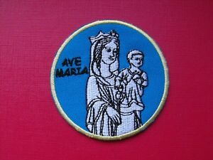 ecusson-insigne-patch-religieux-Scoutisme-AVE-MARIA-SAINTE-MARIE-pelerinage