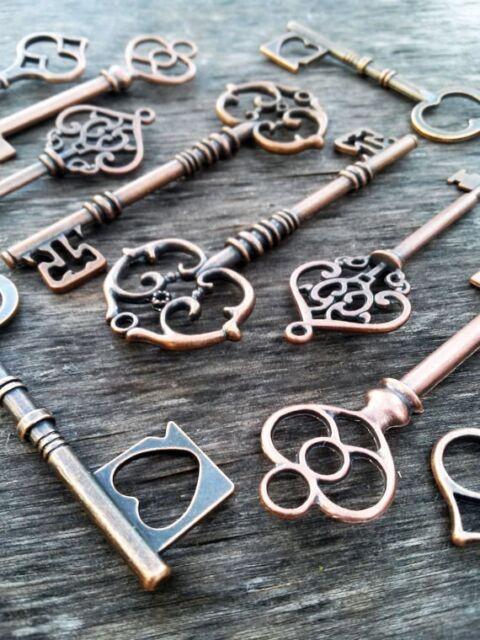 Skeleton Keys 62-90mm Antiqued Copper Steampunk Assorted Wedding Bulk 100pcs Lot